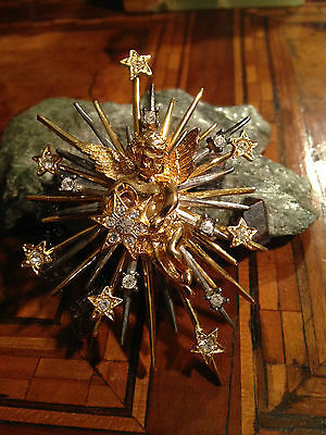 Rare! Signed Graziano Cupid Angel Stars Brooch Spilla Angelo Stelle Vintage