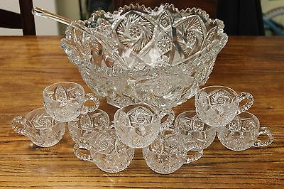Vintage Nucut Imperial Glass Pedestal Punch Bowl w/ 9 Cups Whirling Star