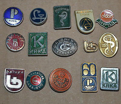 Yugoslavia Pharmaceutical LEK Pliva Krka Galenika Belupo vtg pin badge lot
