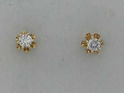 Natural Diamond Stud Earring Solid 14kt Yellow Gold