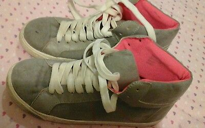 girls grey suede hi top trainers shoes size UK 3