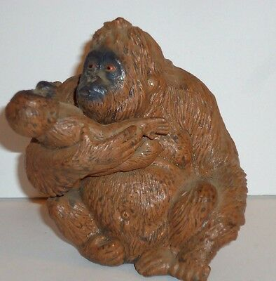 """Vintage Rubber ~ Orangutan & Baby """" Person of the Forest """" ~  Figurine *FREE S&H"""