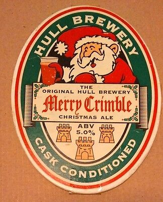 Beer pump badge clip HULL (closed) brewery MERRY CRIMBLE cask ale pumpclip front