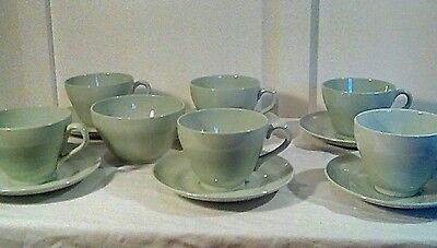 Vintage tea set & sugar bowl flemish green spode