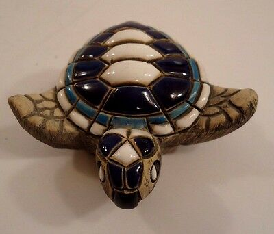 Collectible Turtle with Thick Enameled Shell & Face ~ Signed ~ FREE S&H