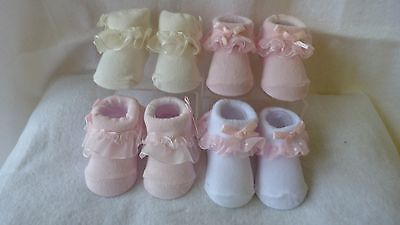 Baby girl frilly organza socks with bow PACK OF TWO PAIRS 0-6 months or reborn