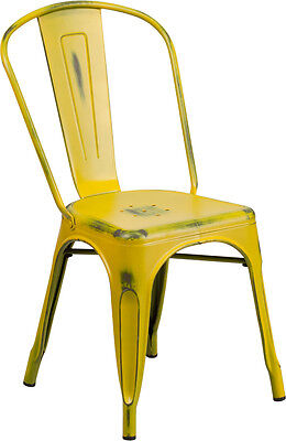 (20 PACK) Industrial Style Antique Yellow Metal Restaurant Chair For Outdoor
