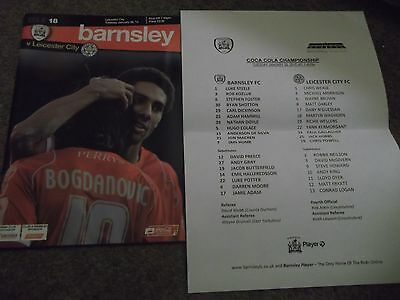 2009/10 Barnsley V Leicester City Programme & Teamsheet 26Th January 2010