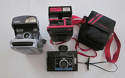 Lot Of 3 Vintage Polaroid Cameras,Cool Cam/Silver Express/Colorpack 2,untested