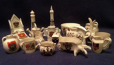 Collection of Crested China. Job lot of 19 pieces.