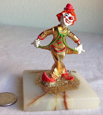 Judy Originals 24K Gold-Plated Clown Figurine Bowing Signed 1980's