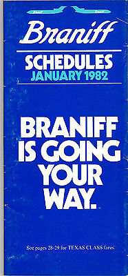 Braniff International Airlines - System Timetable - January 1982