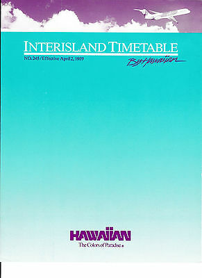 Hawaiian Airlines - Interisland Timetable - 2 Apr 1989 - 8 1/2 X 11 - Large