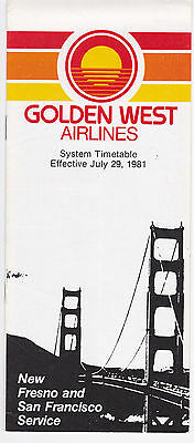 Golden West Airlines - System Timetable - 29 July 1981