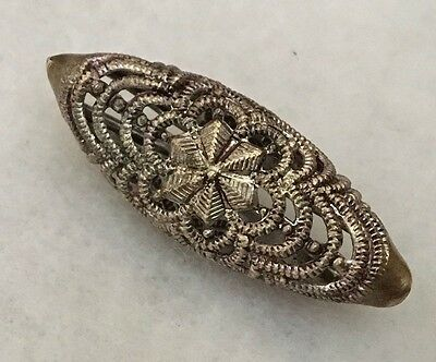 Antique Pierced Nickel Plated Brass Button, Spindle Shape