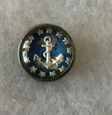 Intaglio Glass Button Blue Background with Anchor Surrounded by 13 Stars
