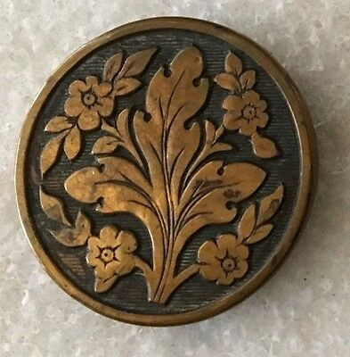 """Antique Metal Picture Button Thistle Plant, National Flower of Scotland 1-1/16"""""""