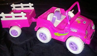Vintage Mattel 'Kelly' Battery Operated Jeep and Cart- Runs Great!