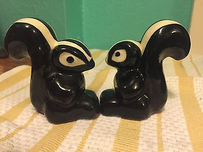 TWO Vintage Ceramic-Porcelain Skunk Figurines Hand Painted-Character SWEET