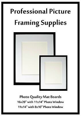 "10- Off White 11x14 Mat Boards (with 8x10"" Photo Window)"