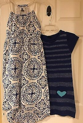 Lot of 2 Girl's Size Large 10/12 Old Navy Dresses Sweater Dress Easter Blue