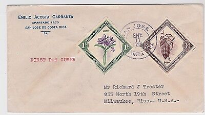 Costa Rica FDC Orchid Cocoa Flowers Chocolate 1938