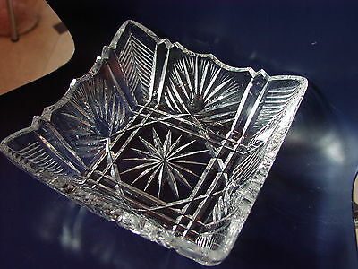 Art Deco Cut glass crystal square bowl