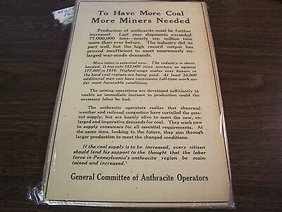 1917 Scranton Times Ad - To Have More Coal More Miners Are Needed - Excellent