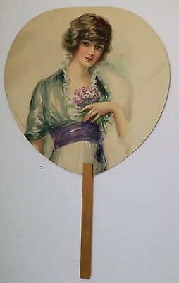 Antique Funeral Director & Licensed Embalmer Advertising Fan Victorian Lady