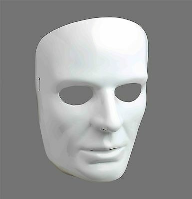 Blank White Male Face Mask Masquerade Halloween Costume Venetian Theater NEW