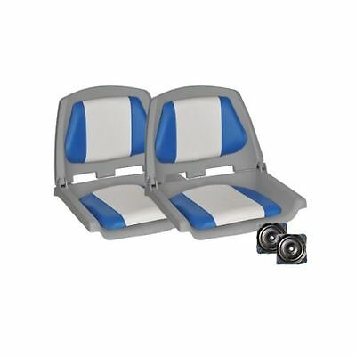 2 X Premium Boat Seat  Folding & Swivel Grey Blue All Weather