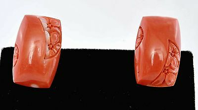 Chinese Natural Coral Carved Carving Cabochon Bead Cufflinks with Flowers