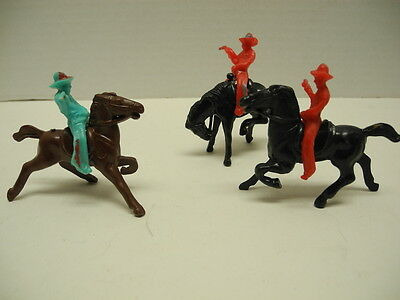 Set of 3 - 1950's Plastic Toy Cowboys and Horses Made in USA Cowboy and Horse