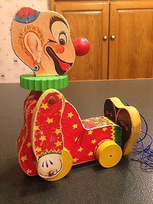 Vintage Fisher Price Squeaky The Clown Wooden Pull Toy 777