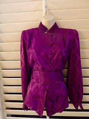 Andre Laug Vintage blouse with matching fabric belt, size/10 EXCELLENT Condition