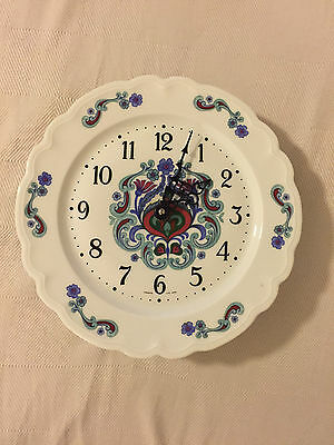 """Vintage Limoges """"Le Trefle"""" China Plate Wall Clock"""