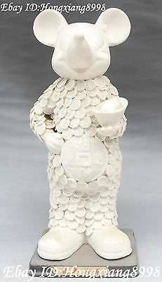 """12""""Chinese White Porcelain Wealth Money Yuanbao Mickey Mouse Mice Animal Statue"""