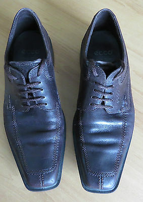 Ecco Brown Soft Distressed Leather Lace Up Shoes In Ec  Size 43