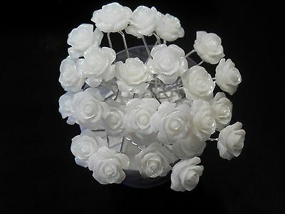 10pcs beautiful white roses flower bridal hair pins hair accessories wedding