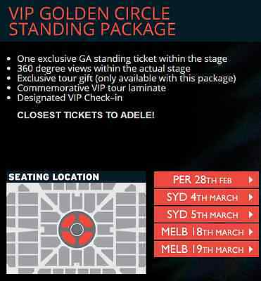 Adele Live 2017 in Melbourne - 2xVIP Packages (Sat 18 Mar 2017, 19:30)