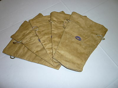 5  Crown Royal Reserve Gold Swede Fabric Bags