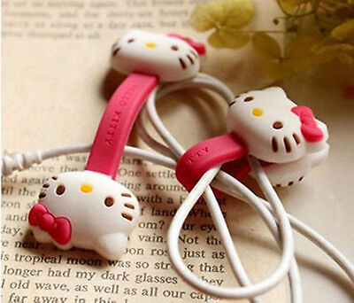 2pcs HelloKitty Earphone cord winders Cable Tidy Wrap Wires Organizer Holders a2