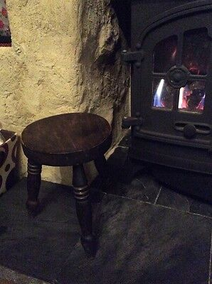 Milking Stool/ Fireside Stool With 3 Legs - Handcrafted Old Oak With Turned Legs
