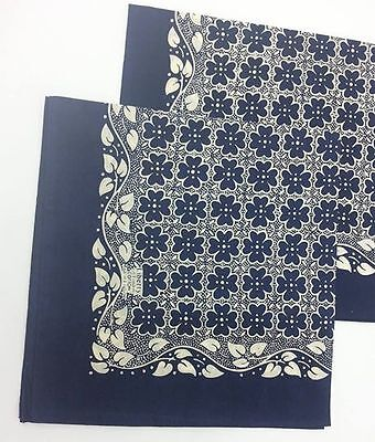 Liberty Of London Blue Cotton Scarf Made in England Bandana Style