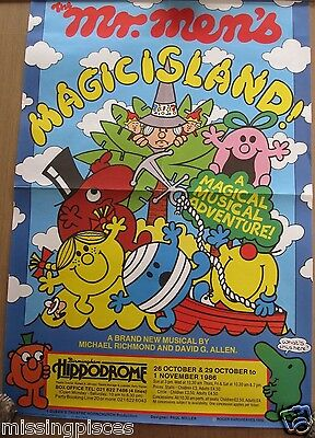 Theater Playbill - Mr Men by Roger Hargreaves Large Poster 1986 Birmingham UK