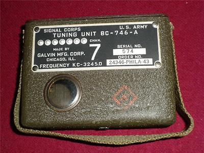 WW2 Signal Corps Tuning Unit US Army 1943 BC 746 Frequency KC-3245.0 Serial 574