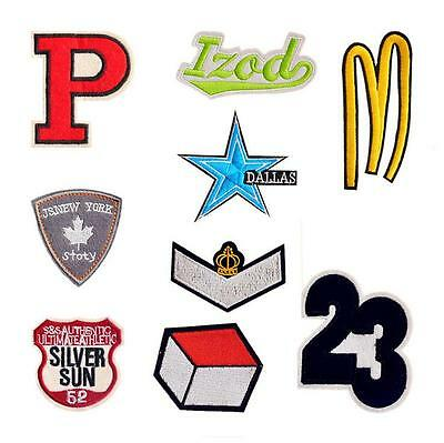 9Pcs Letter Number Sign Embroidered Sew Iron On Patch Badge Cloth Applique Decor