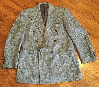 Vintage Bachrach Mens 40L? double breasted wool tweed sports coat
