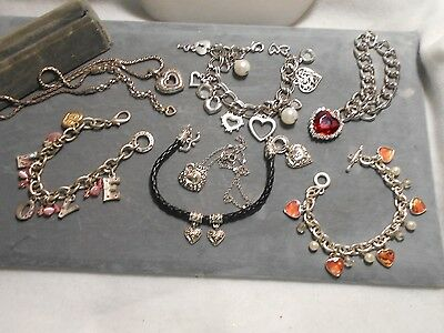 7 Piece Costume Heart Jewelry Lot, Good For Valentine