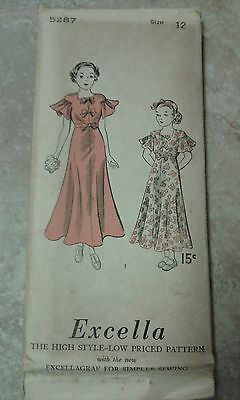 VINTAGE Excella Pattern 5287 Girls Frock Cape Sleeves Bow Trimming NOT PRINTED